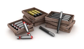 Torpedoes in the box over white background. 3d render Stock Photo