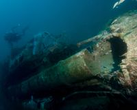 Torpedowa tubka Zapadnięta Niemiecka łódź U352 zdjęcia stock