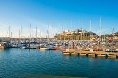 Torquay港口,南德文郡,英国看法  免版税图库摄影