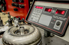 Torque Converter on a Balance Machine. An object of a torque converter on a balance testing machine Royalty Free Stock Photography