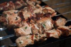 Torréfaction de chiche-kebab sur le gril Partie de BBQ photos libres de droits