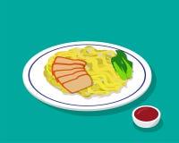 Torr äggnudelsoppa med stekgriskött i stil 3d Arkivbild