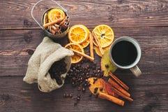 Torr apelsin och citron, kaffebönor Fotografering för Bildbyråer