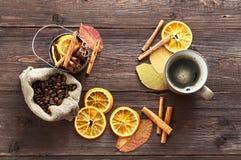 Torr apelsin och citron, kaffebönor i påsen, kanel Arkivbilder