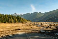 Torr bagare Lake med trädstubbar in i jordningen att vatten har lämnat synligt med berg och skogen i bakgrunden arkivbild