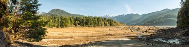 Torr bagare Lake med tr?dstubbar in i jordningen att vatten har l?mnat synligt med berg och skogen i bakgrunden arkivbilder