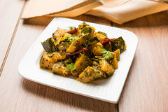 Torr curry för populär indisk grönsakpumpa för huvudsaklig kurs eller sabzi för kaddooorkadduki i hindien, lal bhoplachibhaji i m royaltyfri bild