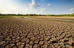 Torr flod p? torka f?rtorkad jordning och sprickajordning royaltyfri foto