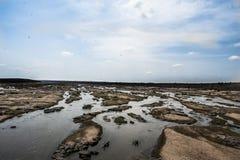 Torr flodbädd, under torka av 2016, Kruger nationalpark arkivfoton