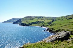 Torr Head. View over the headland Torr Head with its rugged coast over the Mull of Kintyre in the County Antrim in Northern Ireland, UK royalty free stock images