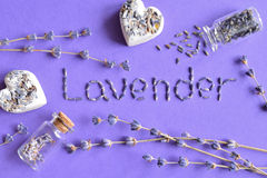 Torr lavendel blommar collage Royaltyfria Bilder