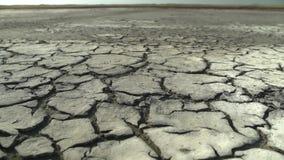 Torr och sprucken jordning för öken stock video