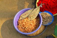 Torr räka och fisken som är till salu på Nagaon, sätter på land, maharashtraen Arkivfoto