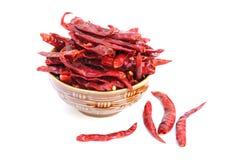 Torr röd chilipeppar på vitbakgrund Royaltyfria Bilder