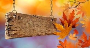 Torra höstsidor som faller från luften och träbrädet arkivfoton