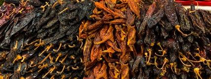 Torra peppar av olika färger i en marknad arkivbild