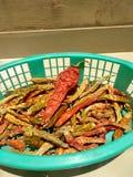 Torra peppar för röd chili royaltyfri fotografi