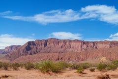 Torra röda berg för öken på horizont Royaltyfri Fotografi
