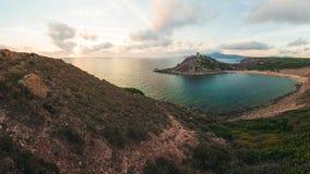 Torre在阿尔盖罗,撒丁岛,意大利附近的del Porticciolo 库存照片