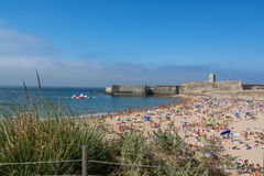 Torre海滩在Oeiras,葡萄牙 库存图片