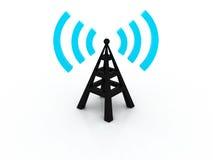 Torre 3d sem fio com ondas de rádio Imagem de Stock