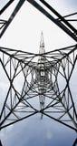 Torre ad alta tensione nel delta del Llobregat Fotografia Stock Libera da Diritti
