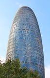Torre Agbar在技术区在巴塞罗那,西班牙。 免版税库存图片