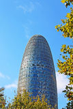 Torre Agbar在技术区在巴塞罗那,西班牙 库存图片
