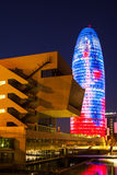 Torre agbar在巴塞罗那 库存照片