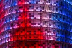 Torre Agbar大厦外部,设计由让・努维尔 巴塞罗那,卡塔龙尼亚, 免版税库存照片