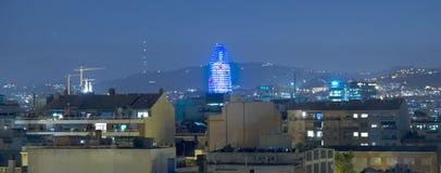 Torre Agbar alla notte Fotografia Stock Libera da Diritti