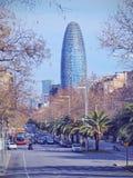 Torre Agbar in Barcelona Stock Photo