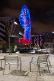 Torre Agbar. In Barcelona by night Stock Photo