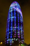 Torre Agbar with Christmas lights Royalty Free Stock Images