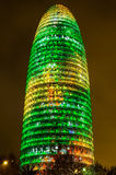 Torre Agbar with Christmas lights Stock Photos
