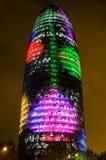 Torre Agbar com luzes de Natal Imagens de Stock Royalty Free