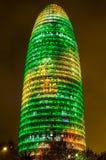 Torre Agbar con las luces de la Navidad Fotos de archivo