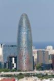 Torre Agbar dans le secteur financier de Barcelone Photos stock