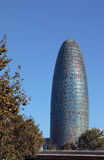 Torre Agbar famous tower of Barcelona. Round shaped 33 stories Agbar tower in Barcelona Stock Image
