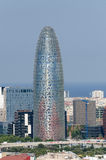 Torre Agbar in financial district of Barcelona Stock Photos