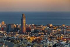 Torre Agbar i pejzaż miejski Zdjęcia Royalty Free