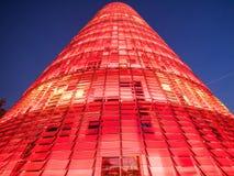 Torre Agbar przy nocą Obrazy Stock