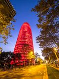 Torre Agbar przy nocą Zdjęcie Royalty Free