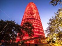 Torre Agbar przy nocą Fotografia Royalty Free