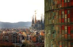 TORRE AGBAR Sagrada Familia, Barcelona - Obrazy Royalty Free