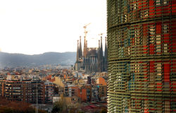 TORRE AGBAR -Sagrada Familia - Barcelona Royalty Free Stock Images