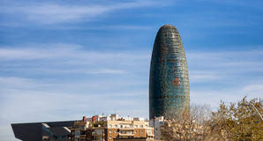 Torre Agbar and Technological District in Barcelona Stock Photos