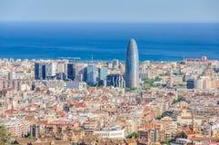 Torre Agbar from Turo del Rovira in Barcelona, Spain Stock Image