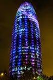 Torre Agbar z bożonarodzeniowe światła Obrazy Royalty Free