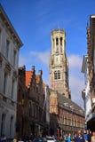 Torre alta famosa del campanile a Grote Markt (quadrato del mercato) Fotografia Stock Libera da Diritti